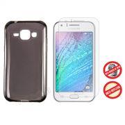 Kit Capa Ultra Slim + Película Fosca para Samsung Galaxy J1 - Cor Grafite