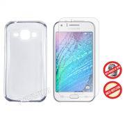 Kit Capa Ultra Slim + Película Fosca para Samsung Galaxy J1 - Cor Transparente