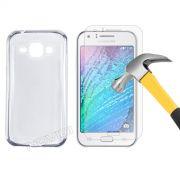 Kit Capa TPU + Película de Vidro Temperado Premium Glass para Motorola Samsung Galaxy J1 - Cor Transparente