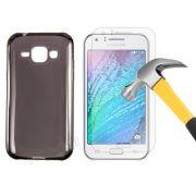 Kit Capa TPU + Película de Vidro Temperado Premium Glass para Motorola Samsung Galaxy J1 - Cor Grafite