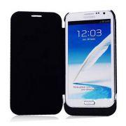 Power Pack Bateria Externa 4200mh Flip Cover para Samsung Galaxy Note 2 - Cor Preta