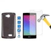 Kit Capa TPU + Película de Vidro Temperado Premium Glass para LG F60 - Cor Grafite