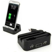 Dock com Carregador de Bateria Micro USB OTG Universal - Cor Preta