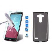 Kit Pelicula de Vidro + Capa de TPU para LG G4 Beat H736P - Cor Grafite