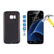 Kit Pelicula de Vidro + Capa de TPU para Samsung Galaxy S7 - Cor Grafite