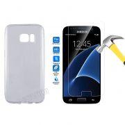 Kit Pelicula de Vidro + Capa de TPU para Samsung Galaxy S7 - Cor Transparente