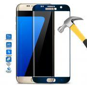 Película de Vidro Temperado Premium Curvada com Borda para Galaxy S7 Edge - Cor Azul
