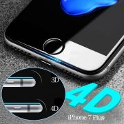 Película de vidro Premium com bordas 4D para Apple iPhone iPhone 7 Plus (5.5) - Transparente