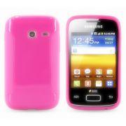 Capa TPU Premium + Película protetora para Samsung Galaxy Y Duos GT-S6102 - Cor Rosa