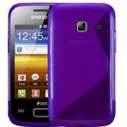 Capa TPU Premium + Película protetora para Samsung Galaxy Y Duos GT-S6102 - Cor Lilás