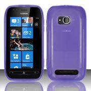 Capa TPU Premium + Película protetora para Nokia Lumia 710 - Cor Lilás