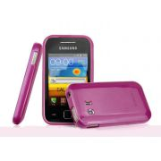 Capa TPU Premium + Película protetora para Samsung Galaxy Y GT-S5360 - Cor Rosa