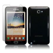 Capa de TPU Premium + Película Pro Fosca Protetora para Samsung Galaxy Note N7000 - Cor Preta Grafite