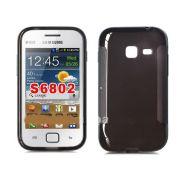 Capa TPU Premium + Película protetora para Samsung Galaxy Ace Duos S6802 - Cor Grafite