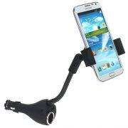 Suporte veicular Pro com carregador com 2 USB 2A e base flexível para Smartphones