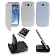 Kit essencial 5X1 para Samsung Galaxy S III S3 i9300 - Original Samsung  - Cor Branco