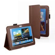 Capa couro Smart Cover para Samsung Galaxy Note 10.1 N8000 / N8100 - Cor Marron