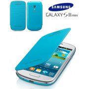 Capa em couro flip para Samsung Galaxy S III Mini I8190 - EFC-1M7FLEGSTDI - Cor Azul Clara