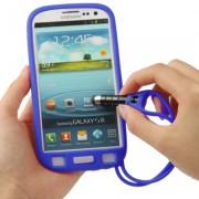 Capa com Caneta touch para Samsung Galaxy S3 S III i9300 / Cor Azul