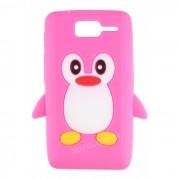 Capa Silicone Pinguim para Motorola Razr D1 XT916 / XT918 - Cor Rosa Pink