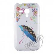 Capa Rígida com Strass Flores e Guarda-Chuva para Samsung Galaxy S III Mini I8190