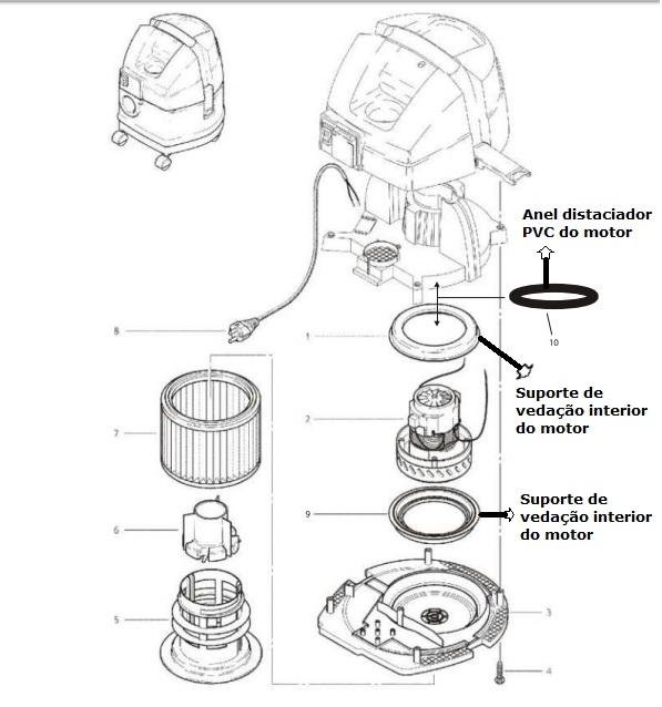 WAP CARPET CLEANER - ANEL SUPORTE VEDAÇÃO INFERIOR DO MOTOR PARA EXTRATORAS E ASPIRADORES  - Tempo de Casa