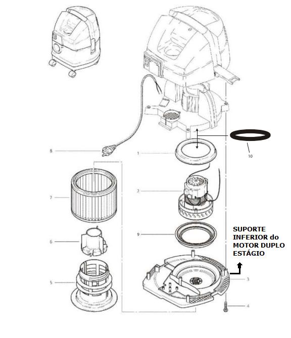 WAP ASPIRADOR TURBO 1600 e 2002 / GT PROFI TURBO - SUPORTE INFERIOR DO MOTOR DUPLO ESTÁGIO   - Tempo de Casa