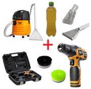Combo: Lavadora Extratora WAP Carpet Cleaner + Furadeira 12v a Bateria + Escovas de Nylon + Shampoo