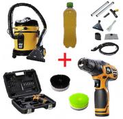 Combo: Lavadora Extratora WAP Home Cleaner + Furadeira 12v a Bateria + Escovas de Nylon + Shampoo