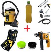 Combo: Lavadora Extratora WAP Home Cleaner + Furadeira c/ Maleta 600K + Escovas de Nylon + Shampoo