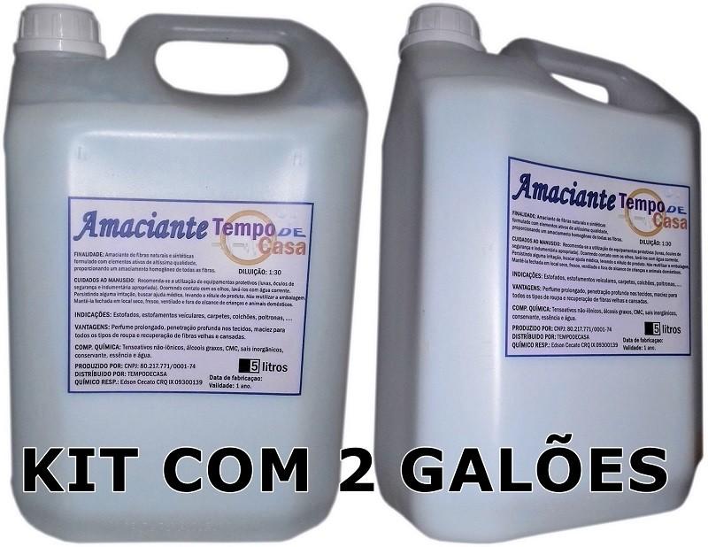 TEMPO DE CASA AMACIANTE - KIT C/2 GALÕES 5 LITROS DE AMACIANTE SUPER CONCENTRADO   - Tempo de Casa