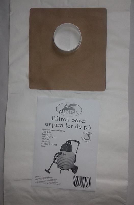 1 PACOTE COM 3 FILTROS SACOS ASPIRADOR 70 LITROS - WAP 1001 / WAP 2002 / ELECTROLUX 50 LITROS / T8002  - Tempo de Casa