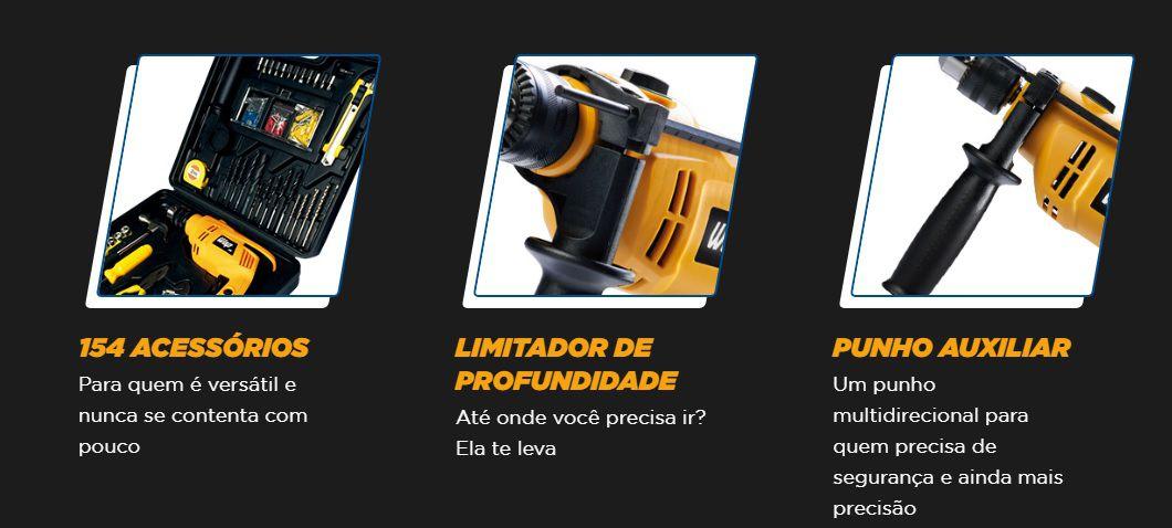 """Parafusadeira Furadeira Elétrica de Impacto c/ Maleta C/ 154 ITENS ½"""" 600K  - USAR Super Ofertas"""
