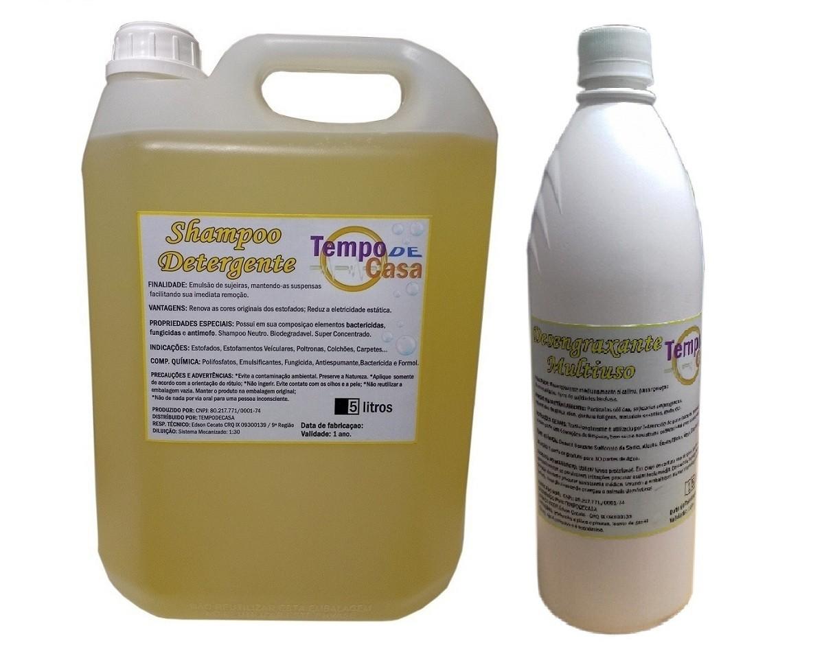 SHAMPOO 5 LITROS / DESENGRAXANTE 1 LITRO - CARPET CLEANER  - Tempo de Casa