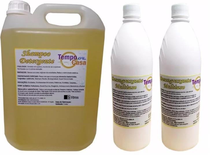 SHAMPOO CARPET CLEANER 5 LITROS, DESENGRAXANTE E AMACIANTE DE 1 LITRO  - Tempo de Casa