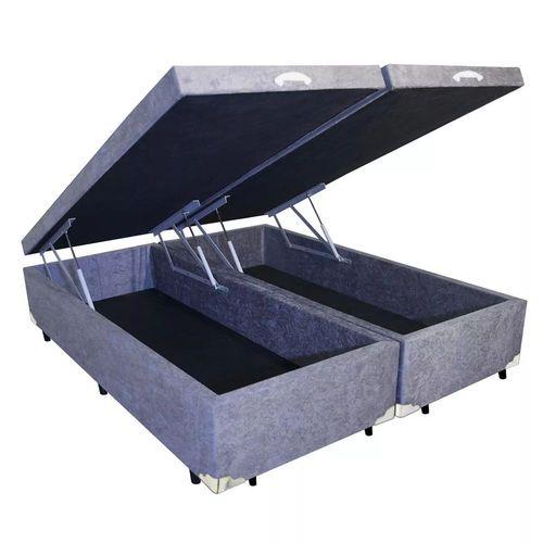 Box Baú Queen Bipartido Sistema Pistão  Tecido Suede 158x198