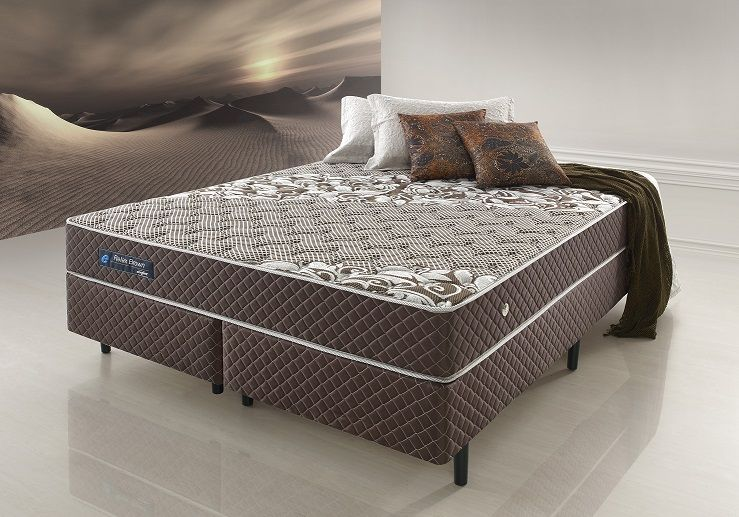 Cama Box Casal Queen Size Molas Ensacadas Relax Brown 158x198x62 Cm marron