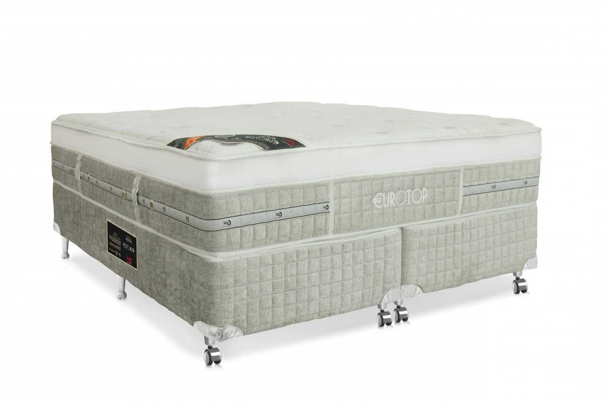 Cama box + Colchão Castor King Gold Star Eurotop Summer & Winter Pocket Branco e Cinza 1,93x2,03x0,74 cm