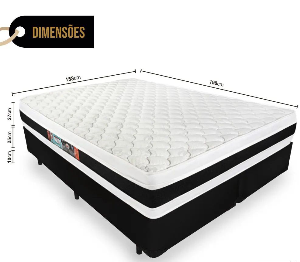 Cama Box Queen + Colchão Castor Queen D45 De Espuma Black White Double Face 1.58x1,98