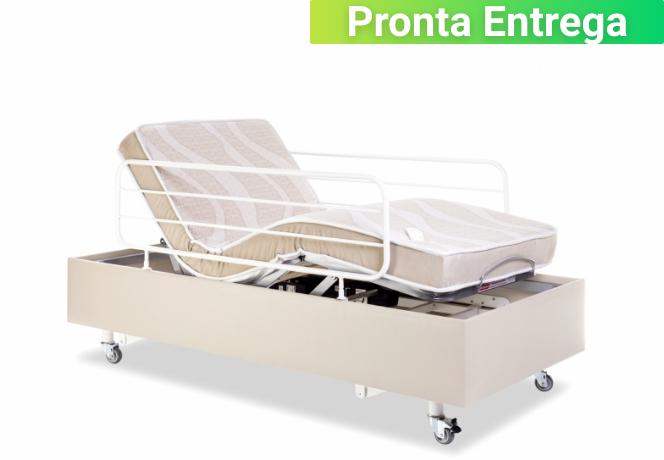 Cama Hospitalar Motorizada com Elevação do Leito Medical-Confort Pilati c/ Colchão Original Pilati c/ Rodas Grades Corino Bege