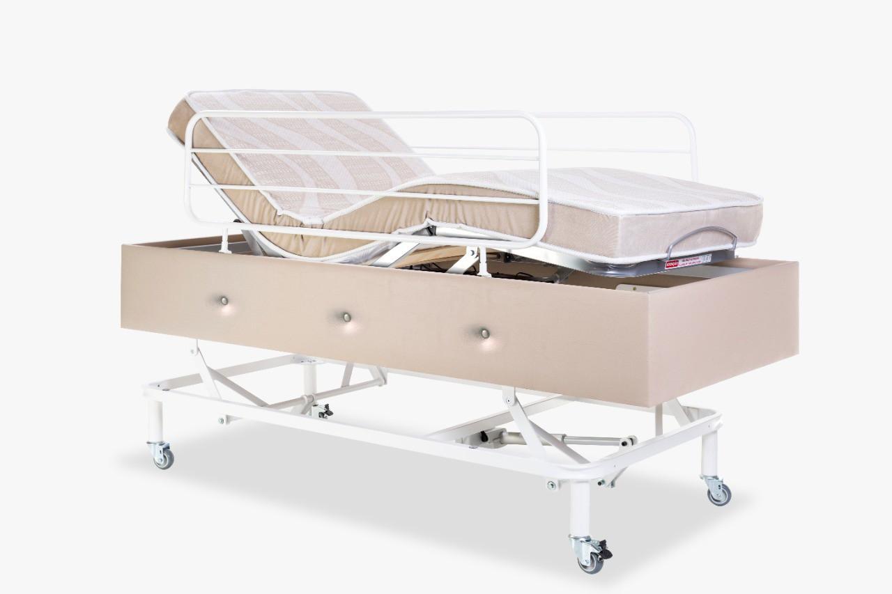 Cama Motorizada Confort Prime Com Elevação Do Leito C/ Rodas e Grades Com Colchão Dueto Firme original Pilati  Bege
