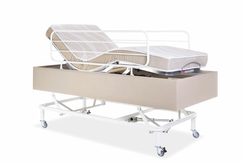 Cama Motorizada Confort Com Elevação Do Leito C/ Rodas e Grades Com Colchão Dueto Firme original Pilati Bege