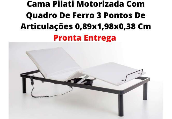 Cama Pilati Califórnia  Motorizada Com Quadro De Ferro  Com Colchão Pilati Original  Firm 0,89x1,98x0,57