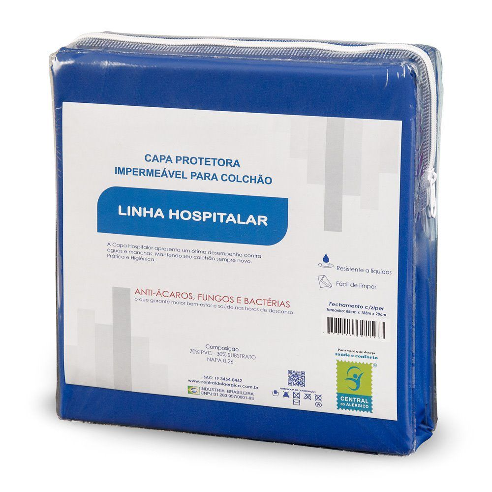 CAPA PARA COLCHÃO SOLTEIRO Napa Hospitalar C/Ziper Cor Azul 0,88x1,88x0,20 Cm