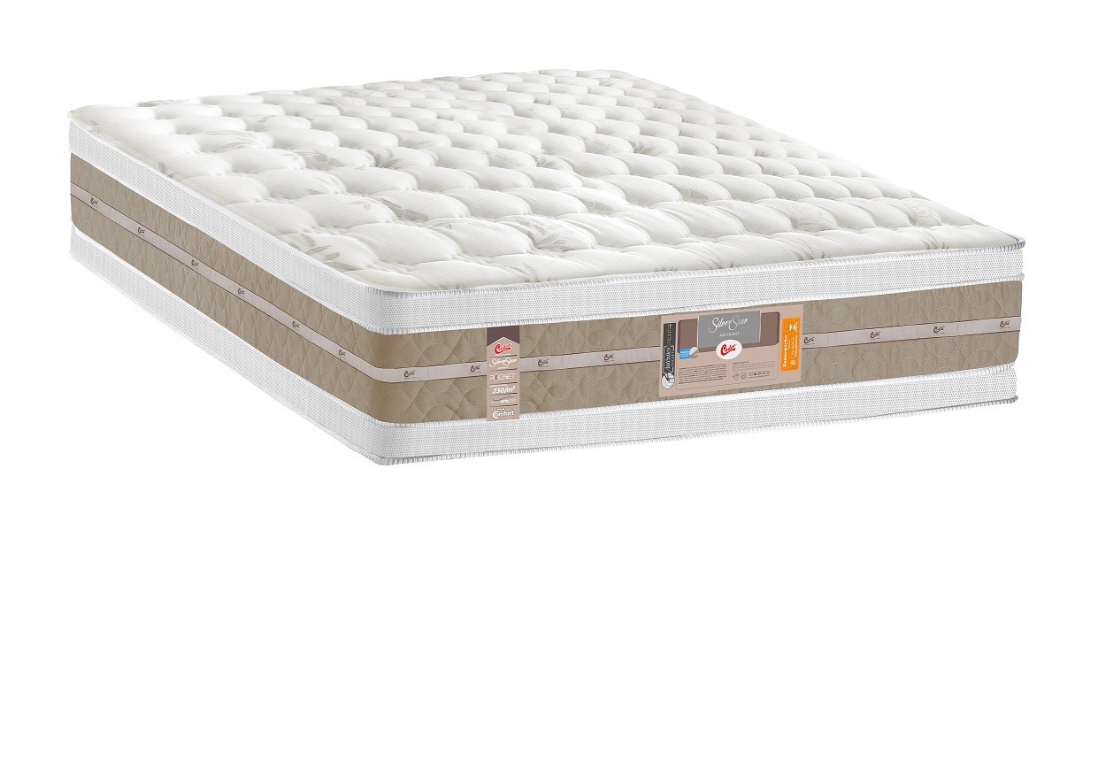 Colchão King Silver Star Air Pocket Double Face 193x203x34 cm-Castor Palha/bege