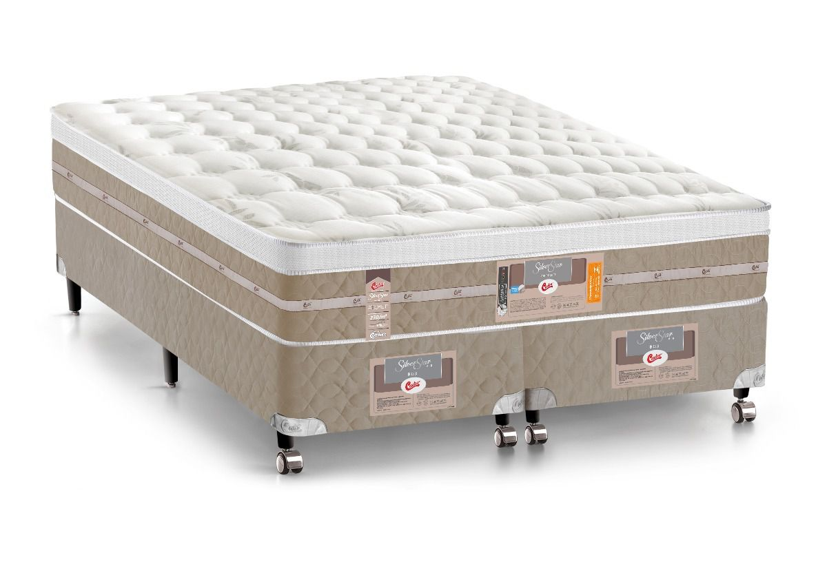 Conjunto Cama Box - Colchão Castor Mola Pocket Silver Star AIR One Side 1,93x2,03