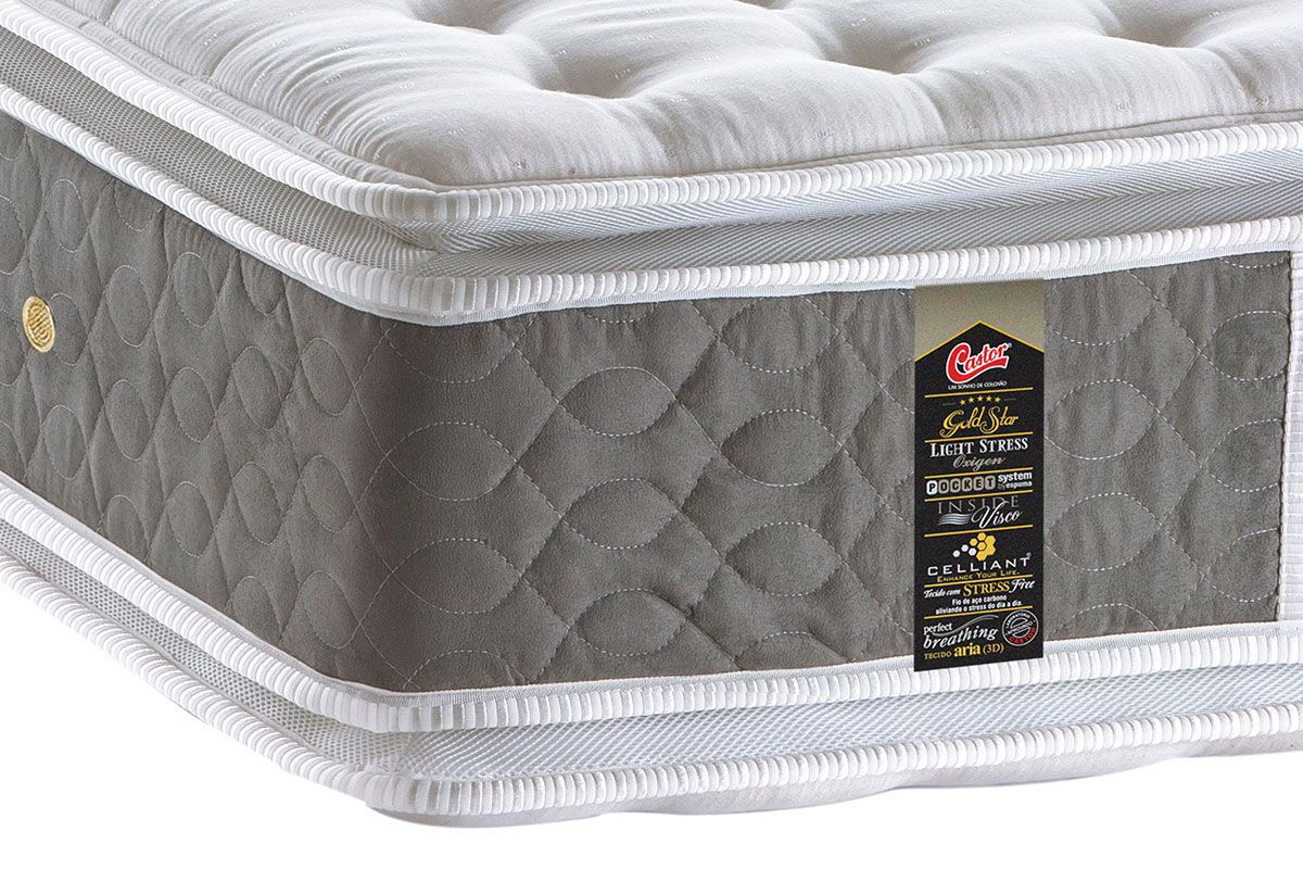 Conjunto Cama Box - Colchão Light Stress Double Face Molas Pocket® Castor