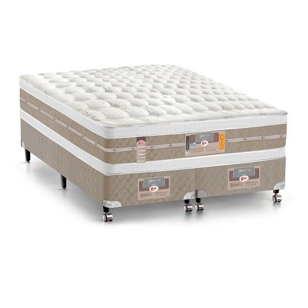 Conjunto Cama Box - Colchão Queen Silver Star Air Pocket Double Face 158x198x34 cm - Castor Palha/bege