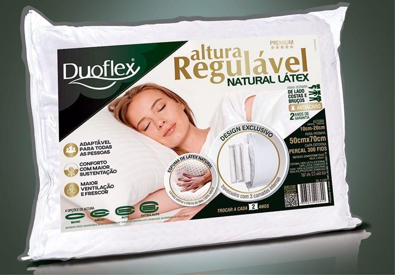 Travesseiro Duoflex De Altura Regulável Látex Luxo Branco