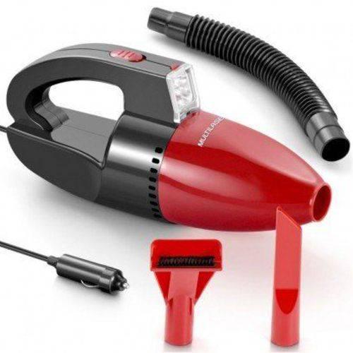 Aspirador de Pó e Líquido Automotivo Portátil Multilaser 12V 60W com Luz de LED Preto e Vermelho